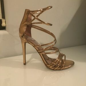 Rose gold strappy pumps